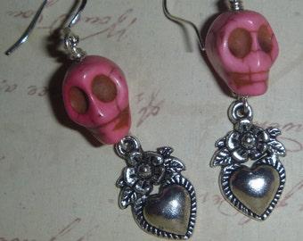 Dia de los Muertos Day of the Dead pink skull and flower heart earrings