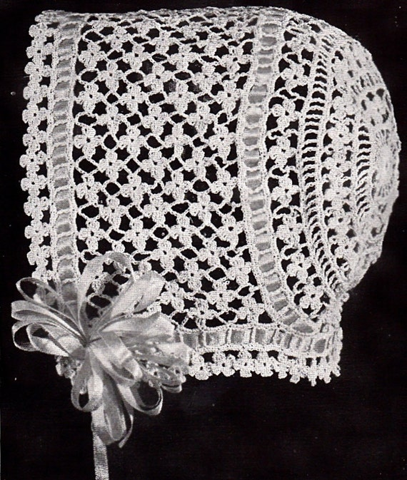 Crochet Thread Baby Bonnet Pattern : Vintage Crochet Baby Bonnet/Hat Patterns Daisy Stitch
