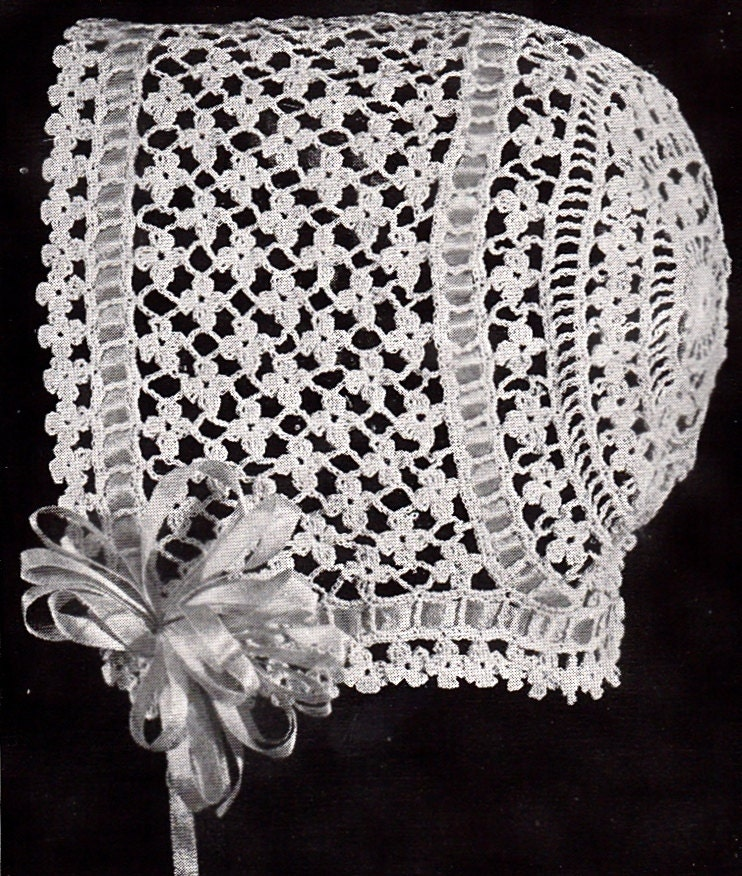 Crochet Baby Bonnet Pattern : Vintage Crochet Baby Bonnet/Hat Patterns Daisy Stitch