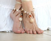 Barefoot sandals with abalone shells in shades of white, cream and bej,barefoot sandles, anklet ,crochet barefoot sandal,foot jewelry,