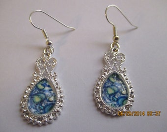 Blue with Green Paisley Design Earrings