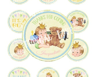 Digital PRINTABLE Vintage Teddy Bear Train Baby Boy Girl Unsex Shower Nursery Welcome Tea Party Cupcake Cake Topper Circle Label Tags Sh330