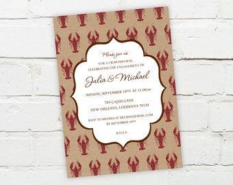 Printable Digital File - Elegant Crawfish Boil Invitation - Customizable - Engagement Party, Birthday, Shower, Crayfish, Seafood, Cajun