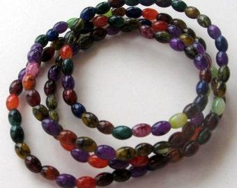 "Glass Jewel Tone Oval Beads 1 - 32"" Strand 5 x  7mm Necklace Design Jewley Supplies Bead Supplies"