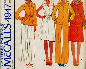 Vintage Misses' Dress or Top and Pants Sewing Pattern - McCall's 4947 - Size 12 - Bust 34