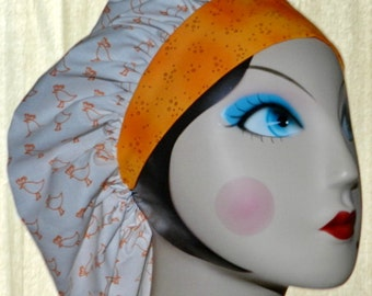 Orange Birds Banded Bouffant Surgical Cap