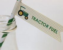 Green tractor paper straws and flags (25) - green and yellow mason jar, birthday party, baby shower, farm birthday, tractor birthday party