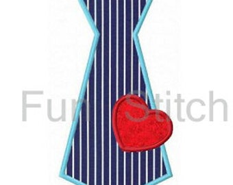 Valentine tie applique machine embroidery design