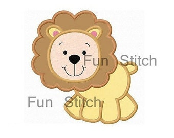 Little lion applique machine embroidery design