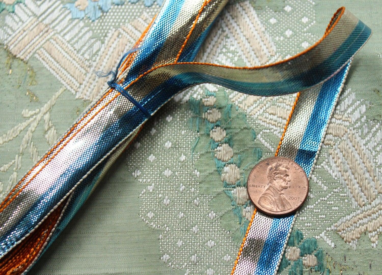 Yard vintage tinsel ribbon trim wire edge blue by