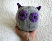 Hand Knit Plush Purple and Grey Owl