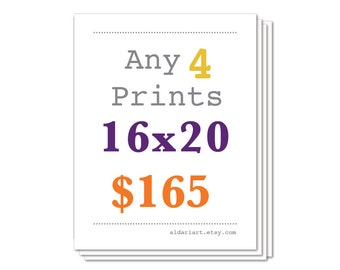 Any Four Prints 16x20 Size