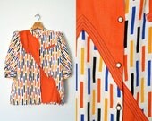 80s colorblock shirt / graphic print / avante garde / new wave / hipster / L XL