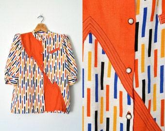 80s colorblock shirt / graphic print / avante garde / new wave / hipster / L XL
