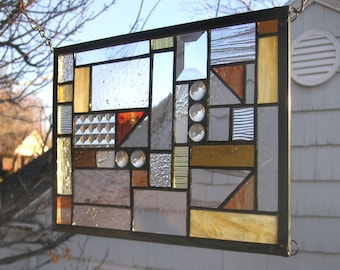 "Mission Style Study in Clear Textured and Warm Tones - 10"" x  12"" -Stained Glass Panel"