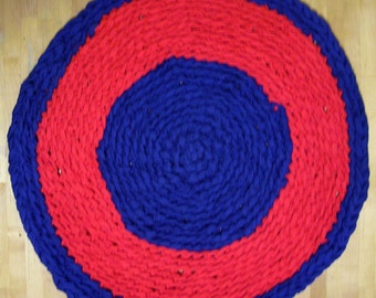 "Rag Rug Crocheted 26.5"" Round Hand Made Red & Blue Patriotic 4th of July  FREE SHIPPING!!!"
