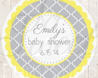 24 Baby Shower Favor Sticker Labels - Gray and Yellow - Boy or Girl Baby Shower Decorations - Gender Neutral Shower