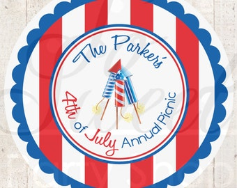 4th of July Stickers - Fourth of July Sticker Labels - Red, White and Blue - Set of 24 Personalized Stickers