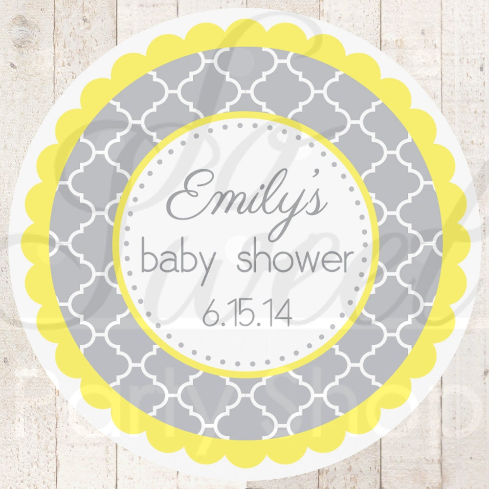 Baby Shower Stickers For Favors: 24 Baby Shower Favor Sticker Labels Gray And Yellow Boy Or