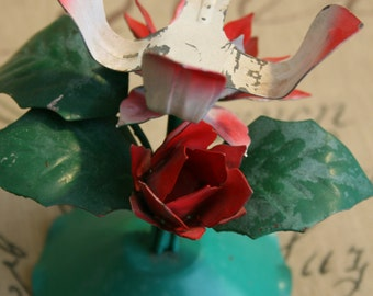 Chippy Shabby Red Rose and Pink Metal Tole Candle Holder