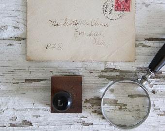 vintage letterpress hand stamp ink print block alphabet letter L