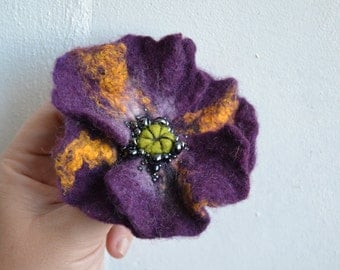 Plum and Yellow Poppy Wool Felted Flower Pin, Opium Poppy, Whimsical Flower Brooch, Floral Statement Accessory