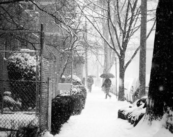 Passing Through the NYC Snow Photography Print, New York City Snowstorm, Umbrellas