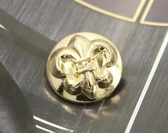 Metal Buttons - Fleur-De-Lis Metal Buttons , Gold Color , Shank , 0.71 inch , 10 pcs