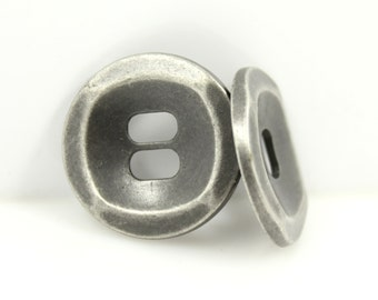 Metal Buttons - Oval Holes Nickel Silver Buttons. 1 inch , 6 pcs
