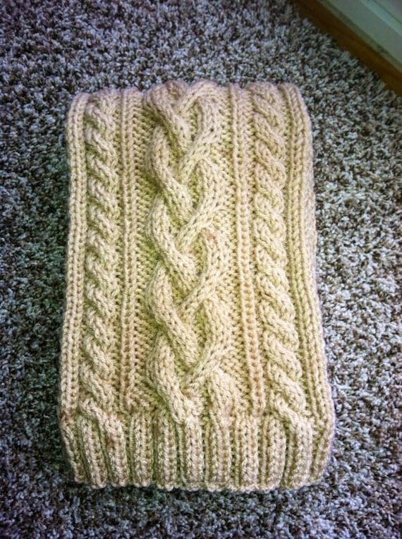Men's scarf, tan color, unique cable knit