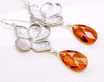 CLEARANCE - Crystal Earrings, Flower Earrings, Sunset Earrings, Cherry Blossoms, Astral Pink, Swarovski, Silver Earrings, No. ES055