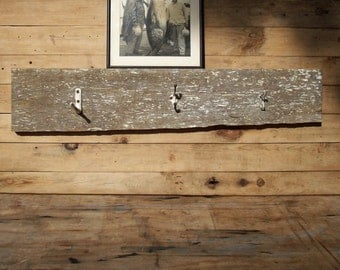 Vintage Barnwood 3 Hook Coat Rack with Picture Ledge / Distressed Weathered Rustic Reclaimed / Farm Decor / Wall Hanging