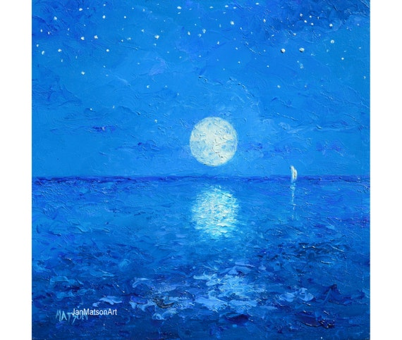 Sky and stars painting moon painting ocean painting night  Sky and stars p...