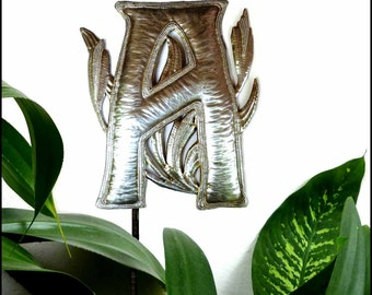 "Garden Decor Metal Art, Metal Letter, Initial - Monogram Garden Plant Stake, Haitian Recycled Steel Drum, Choose any letter - 15"" - PS-1500"