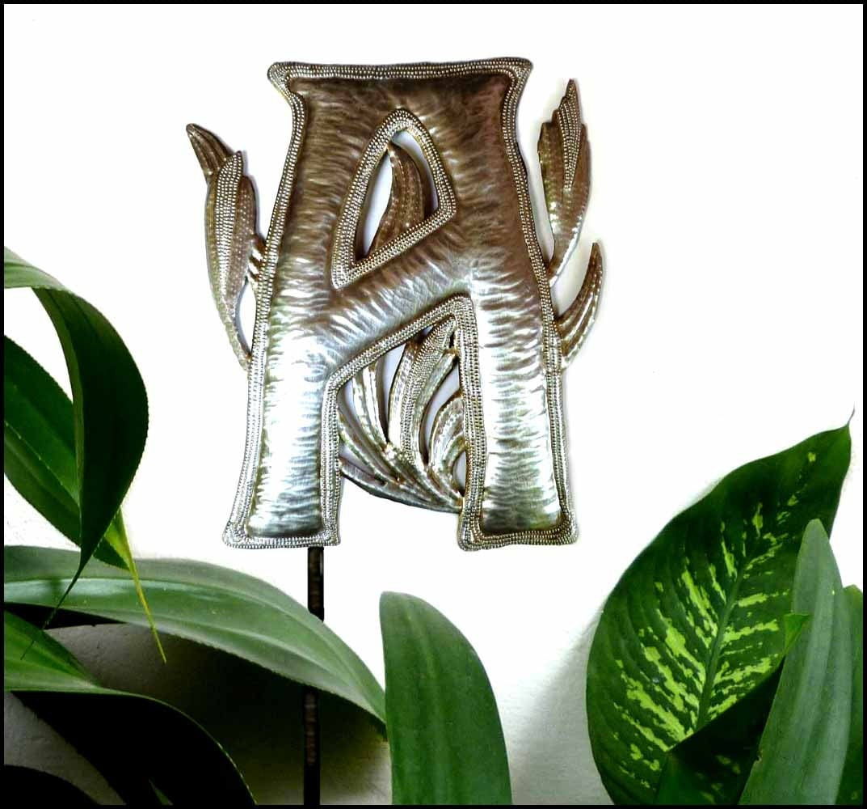 Garden decor metal art metal letter initial monogram for Decorative garden decor