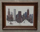 Chicago Skyline Vintage Framed Tile Etching by Eugene Andreyev