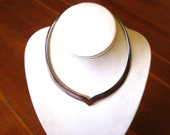 Vintage 60s 70s Taxco Mexican Modernist Handmade Collar Necklace