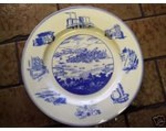 1849 - 1949 CENTENNIAL BLUE & White China PLATE Joseph Horne Co. Commemorative Dedicated to the Forces That Have Made Pittsburgh Pa Great
