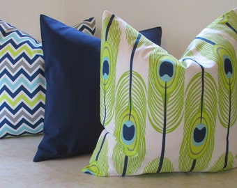 NEW Set of Three  Pillow Covers Feathers Zigzag and Solid Your Choice Sizes