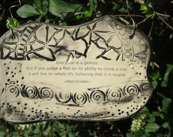 Albert Einstein Inspirational Quote Ceramic Plaque