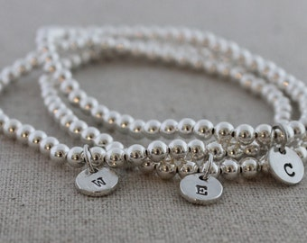 initial stretch bracelets  sterling silver bead bracelet   initials bracelet   stacking bracelets   stamped initials   you choose quantity