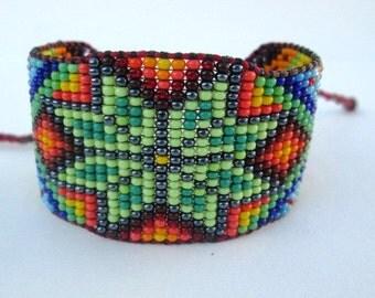Huichol Inspired Beaded Star, Sacred Geometry Bracelet Cuff 2, For Men or Women