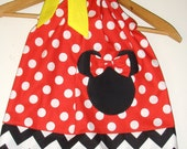 Minnie dress Chevron Red Polka dots applique  pillowcase dress Disney clothing sizes  3, 6 months, 1t,2t,3t,4t,5t,6,7,8,10,12