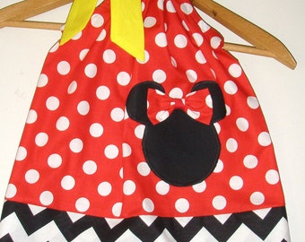 Minnie dress Chevron Red Polka dots applique  pillowcase dress Disney clothing sizes  3, 6.9.12.18 months 2t,3t,4t,5t,6,7,8,10,12