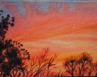Mini Sunset, Aceo, art card