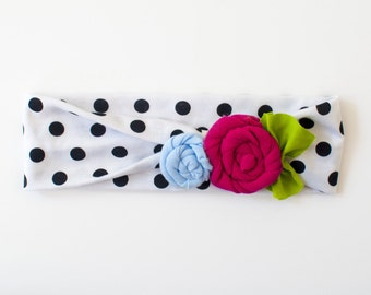 Black and White Polka Dot Fuchsia & Baby Blue Rosette Flower Jersey Knit Knotted Turban Headband/Headwrap Baby Toddler Child Adult