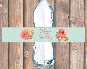 Watercolor Spring Floral Printable Water Bottle Labels for Birthday Party, Bridal Shower, Baby Shower - INSTANT DOWNLOAD