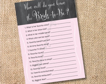 Chalkboard Pink Printable Bridal Shower Game - Pink & Gray Printable How Well Do You Know The Bride Game - INSTANT DOWLOAD