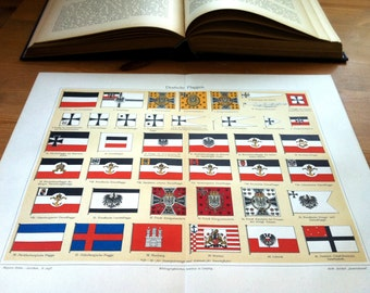 German Flags Antique Original 1896 Lithograph from Vintage Dictionary OOAK One of a kind