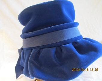 Vintage Lovely Blue Velvet Hat